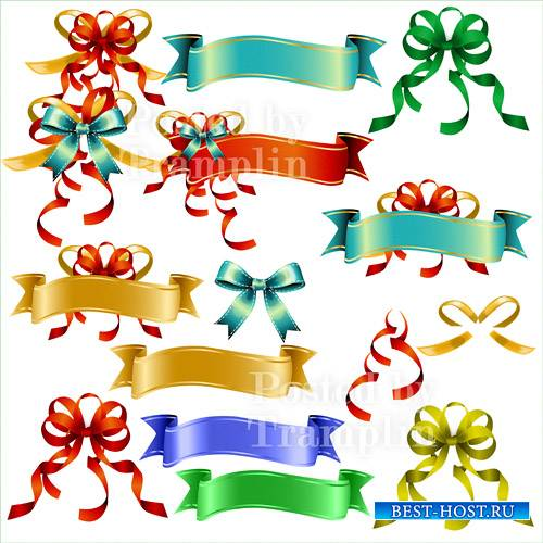 Клипарт разноцветные банты и баннеры для текста