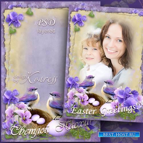 Праздничная пасхальная весенняя рамка для фото с нежными цветами и причьим  ...