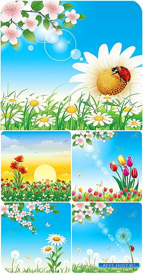 Природные фоны в векторе, цветы / Natural backgrounds vector, flowers