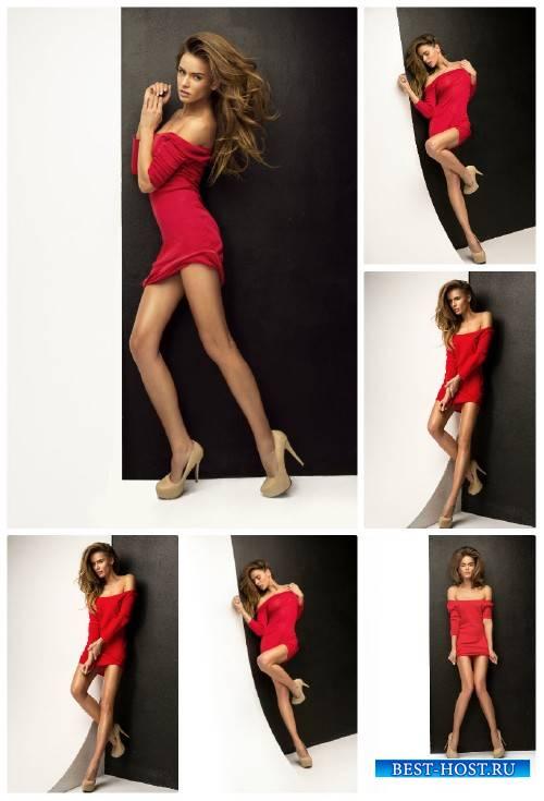 Стильная девушка в красном платье / Stylish girl in a red dress - Stock Pho ...