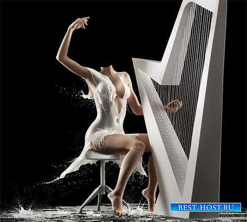 Шаблон для фотошопа - Девушка играет на арфе в необычном платье из молока