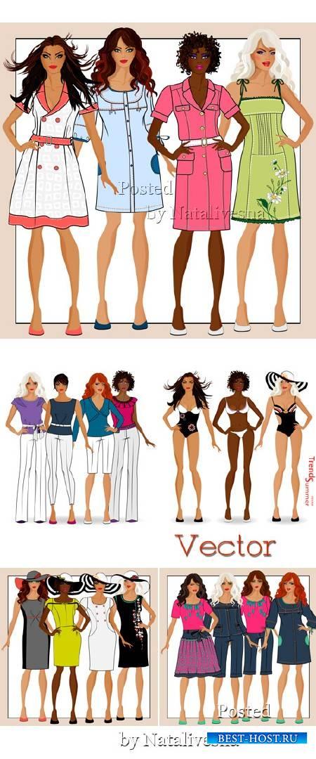 Девушки в Векторе в разных вариантах одежды
