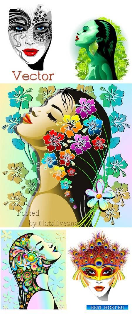 Девушки в Векторе украшенные декоративными цветами