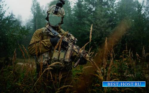 Шаблон для фотошопа  -  Спецназовец на задании