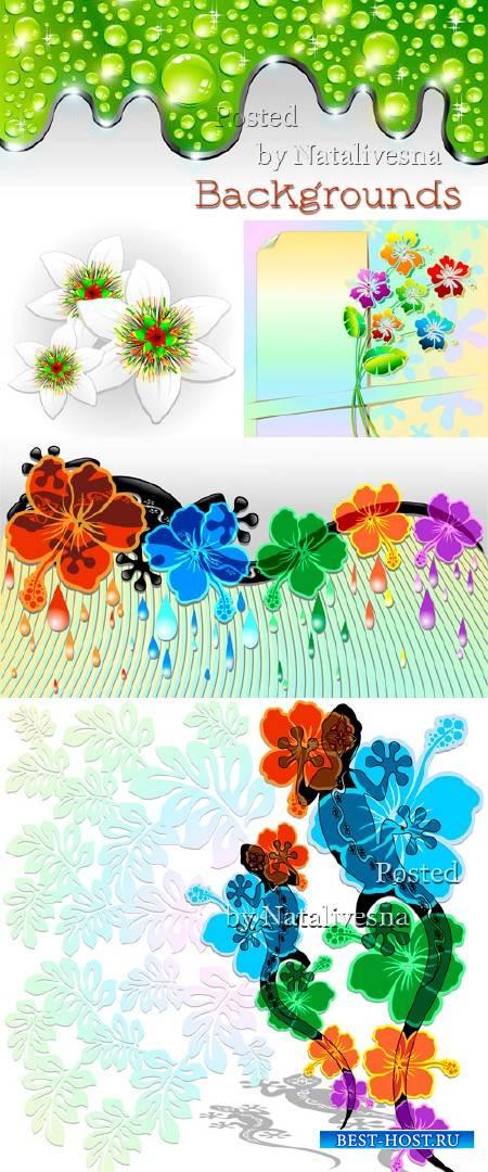 Фоны в Векторе с декоративными цветами и капельками