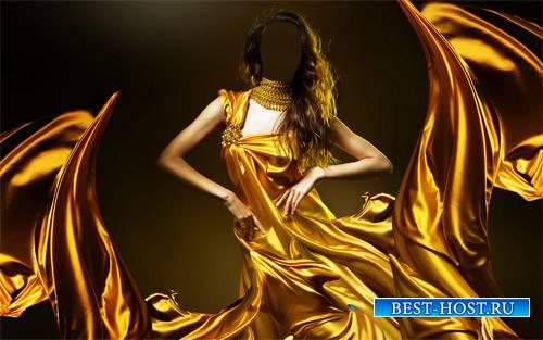 Шаблон для фотомонтажа - Брюнетка в необычном платье