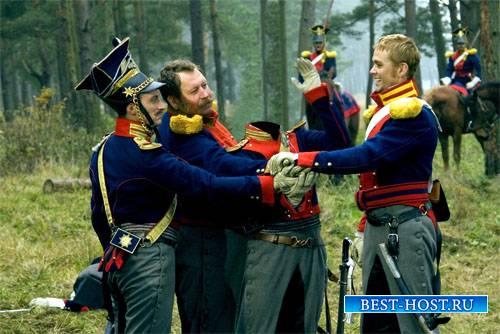 PSD шаблон для мужчин - Гусары в лесу