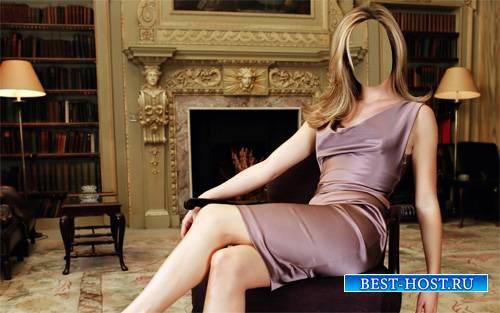 Шаблон psd женский - Дама сидя на кресле у камина