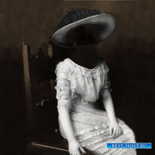 Шаблон для Photoshop - Дама в старинном платье портрет