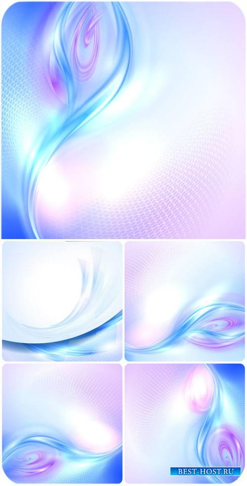 Векторные фоны с синими и сиреневыми линиями / Vector background with blue  ...