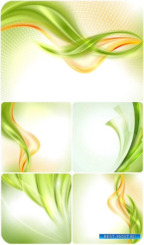 Зеленые фоны с линиями в векторе / Green background with lines vector