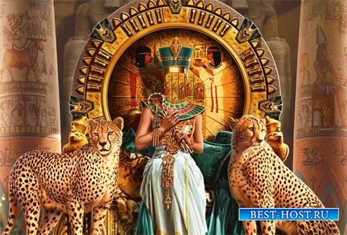 Женский шаблон - Египетская царица с двумя гепардами