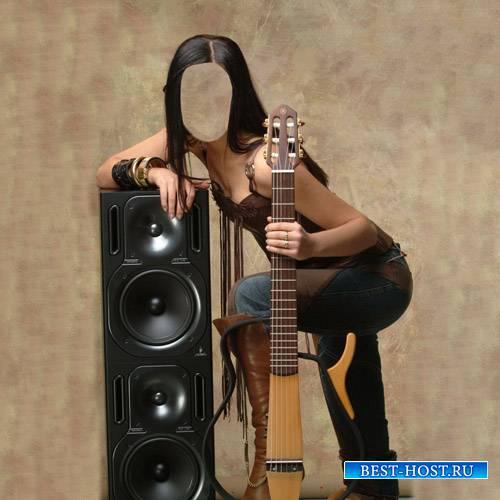 Шаблон женский - Девушка с гитарой