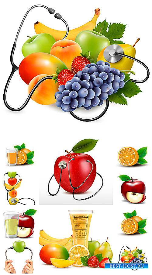 Фрукты, свежие соки в векторе / Fruits, fresh juices vector