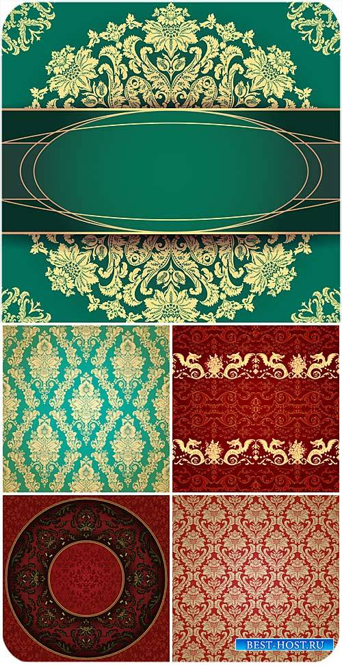 Золотые узоры, векторные красные и зеленые фоны, винтаж / Golden patterns,  ...