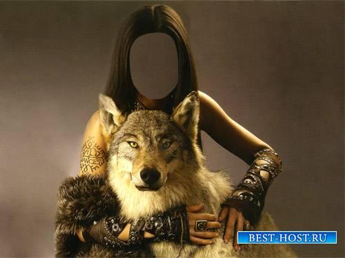 Шаблон для девушек - С красивым волком