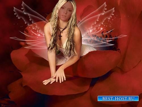 Шаблон женский - Красивая фея в цветке