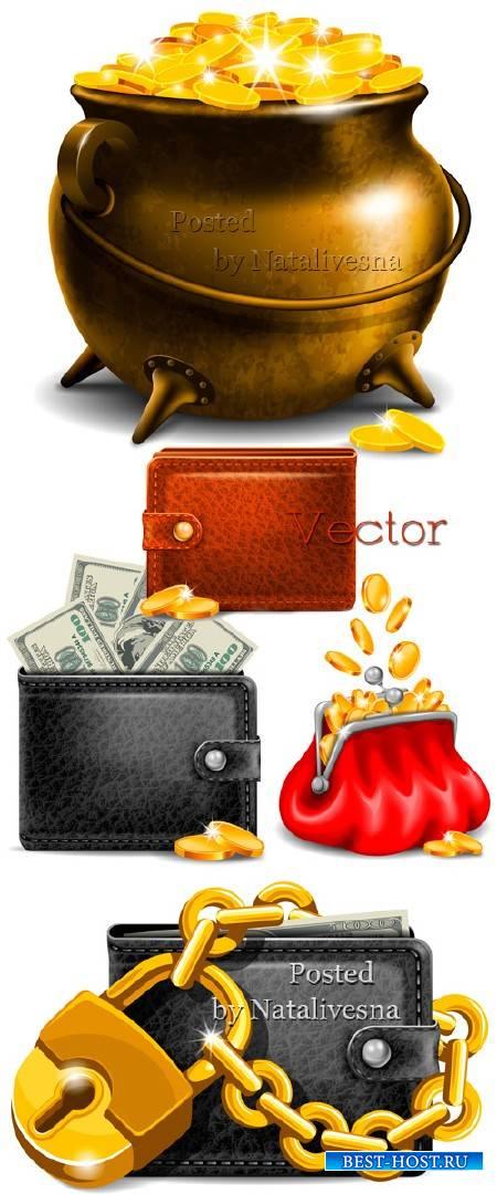 Кошелек с купюрами и монетами в Векторе