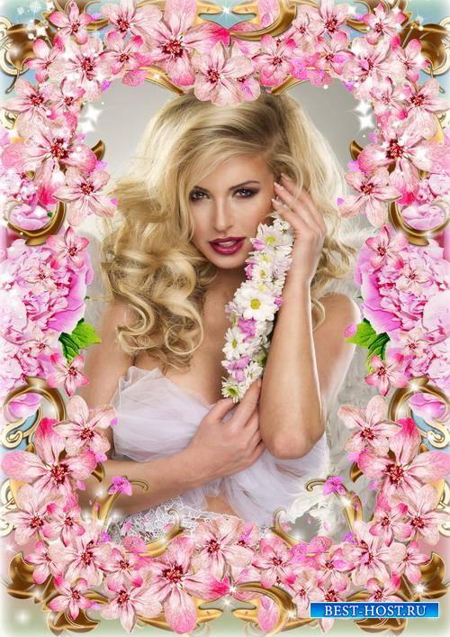 Шикарная цветочная рамка для женского фото - Цветочный шедевр