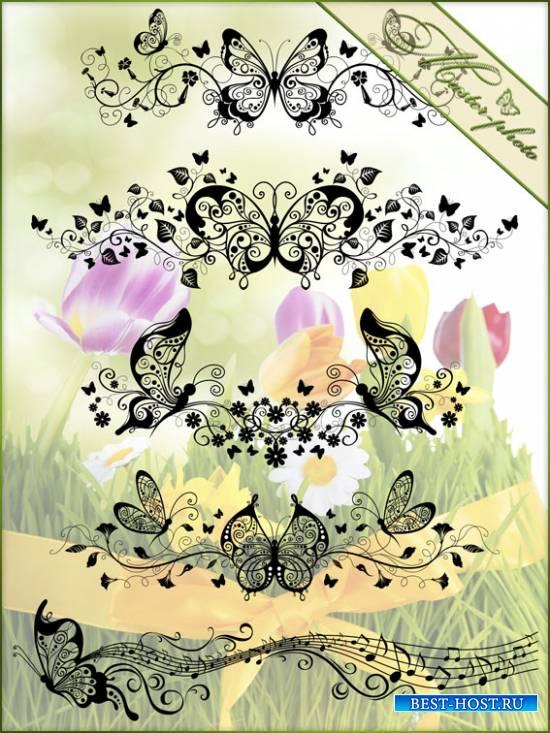 PSD исходник + набор кистей - Бабочки