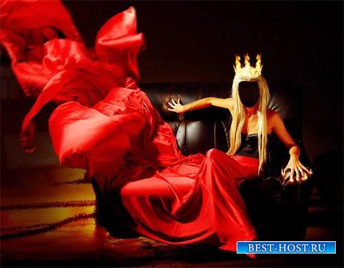PSD шаблон для девушек - В красном огненном платье