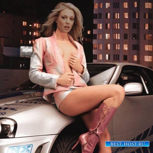 Женский шаблон - У спортивной машины