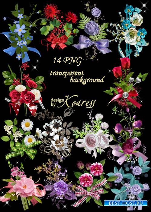 Набор кластеров для фотошопа с цветами и бантами - Цветочный аромат