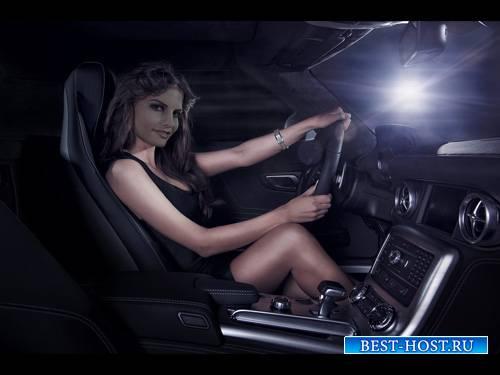 Шаблон женский - За рулем в элитном авто