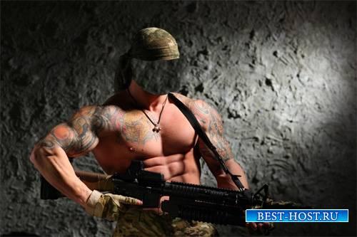 Мужской шаблон - Накаченный боец с оружием