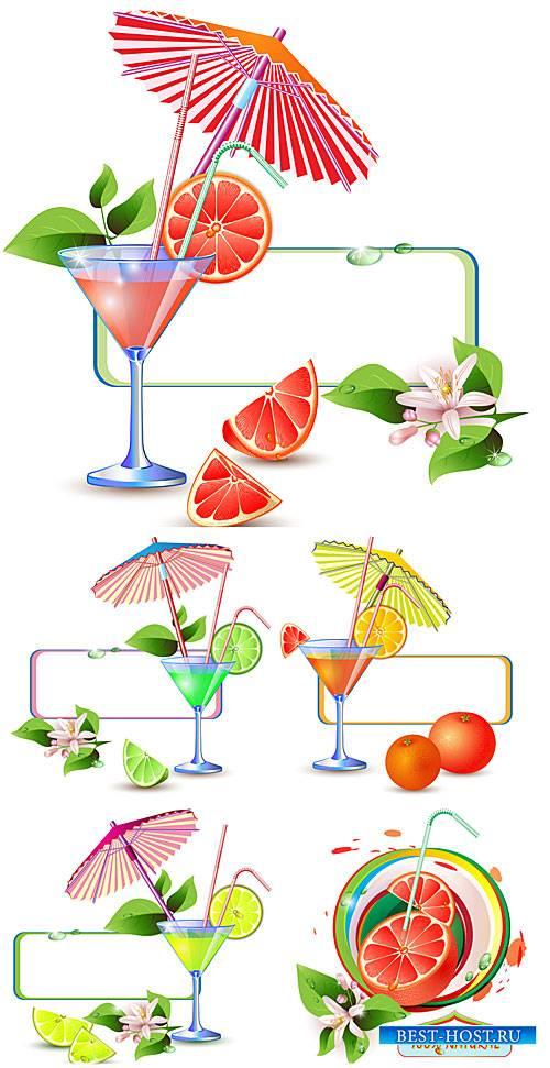 Свежие цитрусовые соки, напитки в векторе / Fresh citrus juices, drinks vec ...