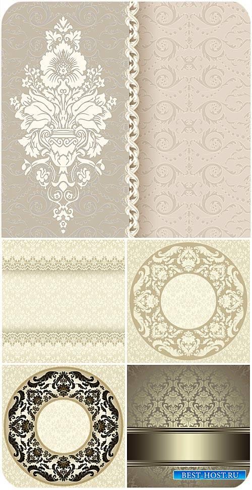 Винтажные орнаменты, векторные фоны с узорами / Vintage ornaments, vector b ...