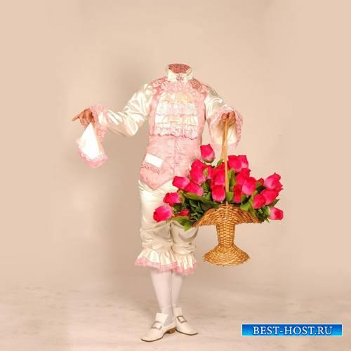 Шаблон для фото - В старинной одежде с букетом больших роз