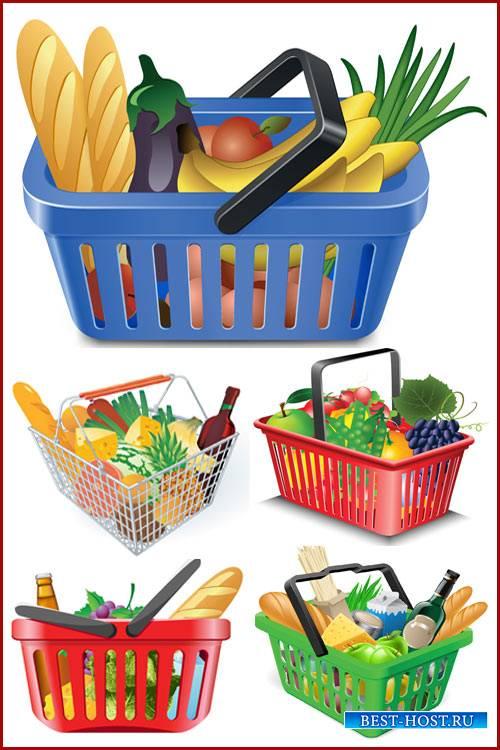 Векторный клипарт - Корзина с продуктами
