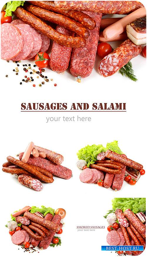 Колбасные изделия и салями / Sausages and salami - Stock photo