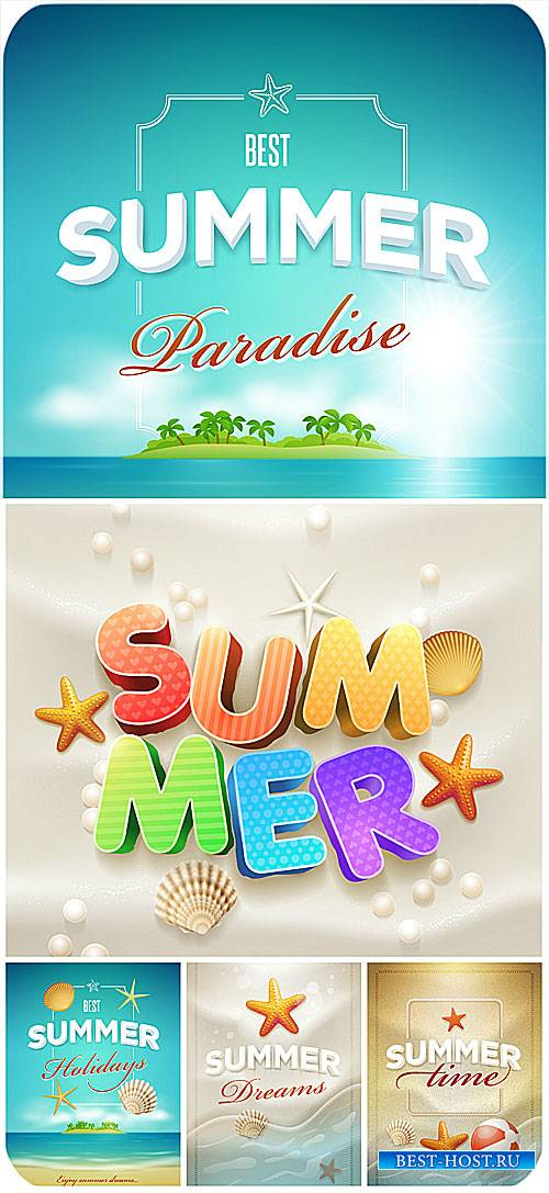 Морские векторные фоны, лето / Marine vector backgrounds, summer