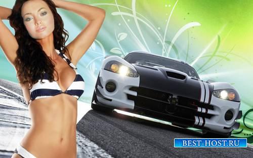 Шаблон для Photoshop - Красивая брюнетка в купальнике на фоне спортивной ма ...
