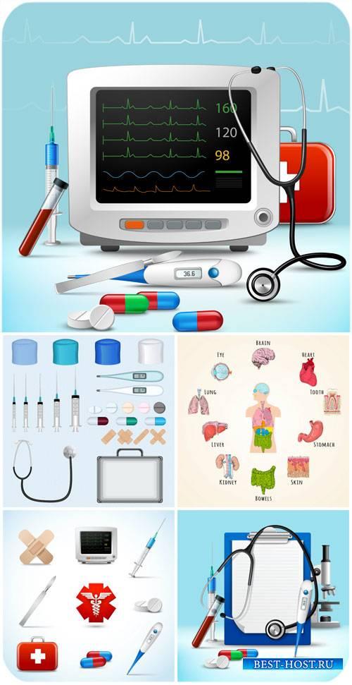Медицина в векторе, таблетки, шприцы, фонендоскоп / Vector medicine, tablet ...