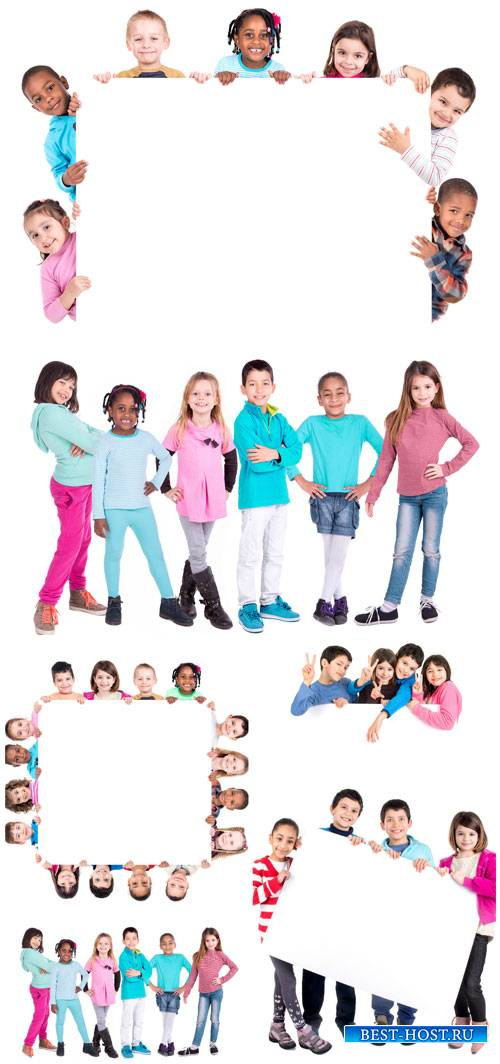 Дети с плакатами / Children with placards - stock photos