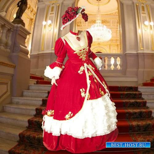 Женский шаблон - В шляпе из роз и платье