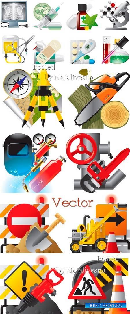 Иконки в Векторе – Стройка, дорожные знаки и медицина