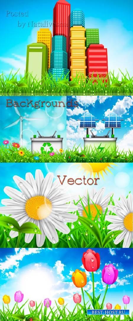 Фоны с природой, домами и цветами в векторе
