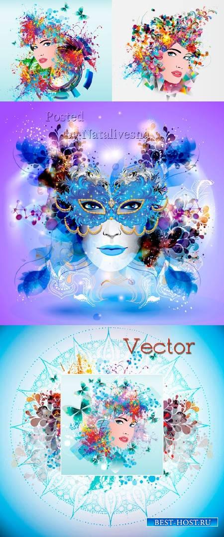 Нежные фоны с цветами, бабочками с лицами девушек в векторе