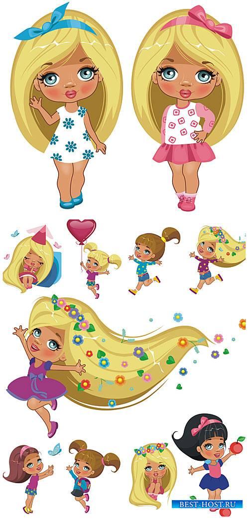 Маленькие девочки, детский вектор / Little girls , children vector
