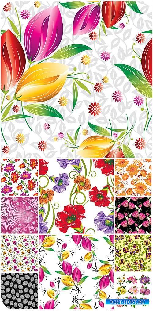 Цветочные фоны, цветы в векторе / Floral backgrounds, flower vector