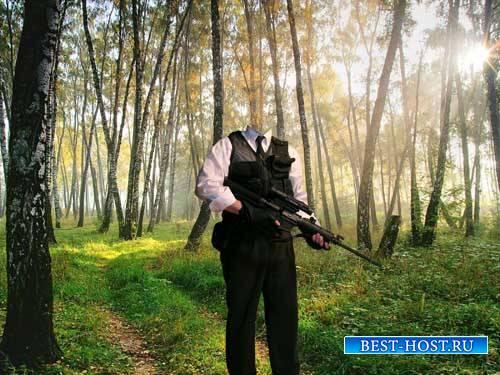 Снайпер с оружием - шаблон для фотошопа