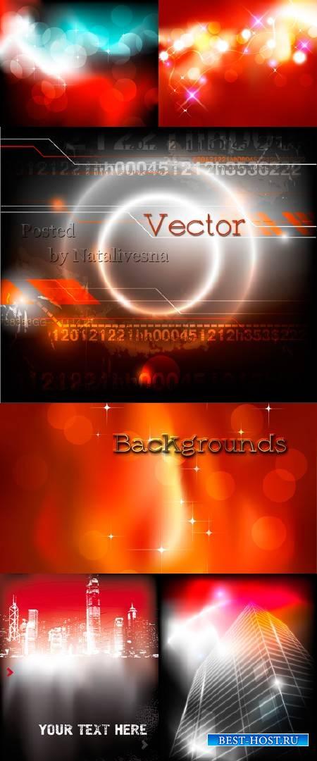 Красно-черные фоны в Векторе  с блесками