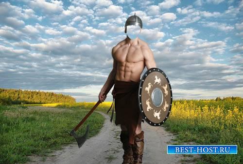 Шаблон мужской - Воин со щитом и топором