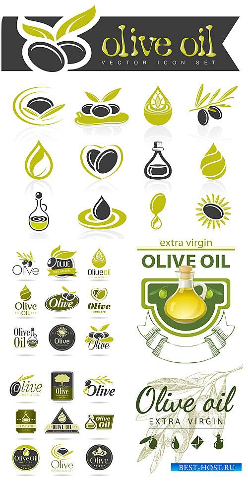 Оливки, этикетки в векторе / Olives, food labels vector