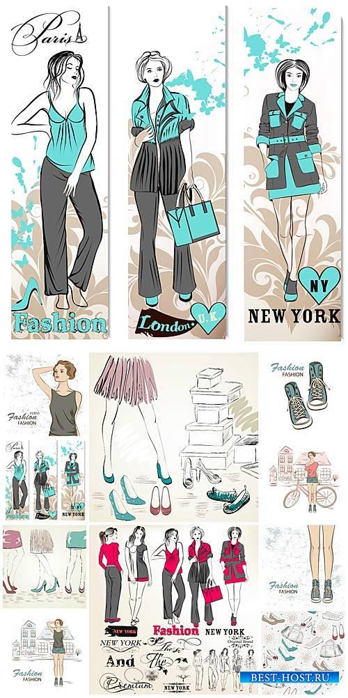 Мода, модные девушки в векторе / Fashion, fashion girls vector