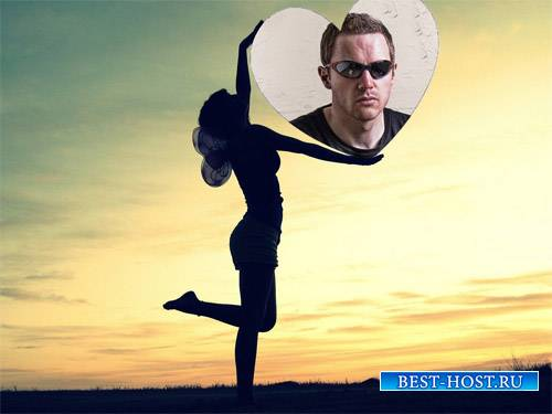Рамка для фотошоп - Тень девушки с фото в виде сердца